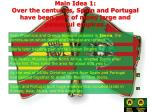 main idea 1 over the centuries spain and portugal have been part of many large and powerful empires