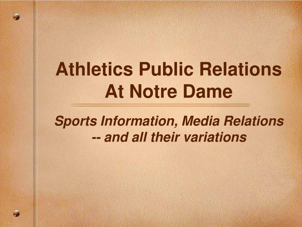 athletics public relations at notre dame l.