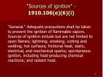 sources of ignition 1910 106 e 6 i