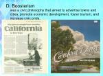 d boosterism
