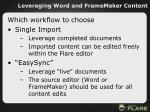 leveraging word and framemaker content42
