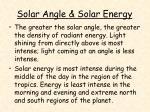 solar angle solar energy