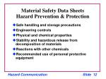 material safety data sheets hazard prevention protection
