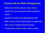 framework for risk management