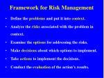 framework for risk management