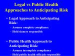 legal vs public health approaches to anticipating risk