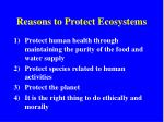reasons to protect ecosystems