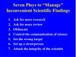 seven ploys to manage inconvenient scientific findings