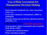 uses of risk assessment for management decision making