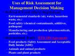 uses of risk assessment for management decision making