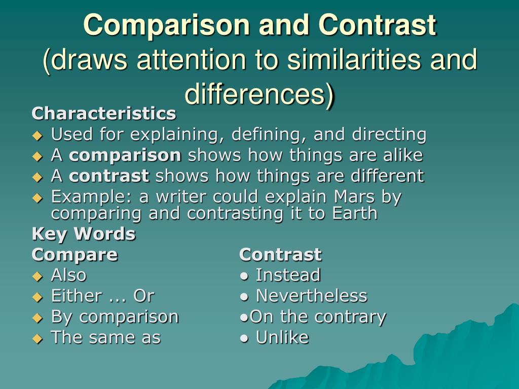 compare and cotrast the characters of