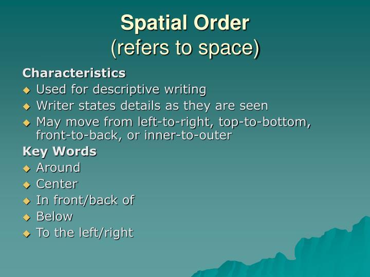 Essay using spatial order