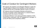 code of conduct for contingent workers