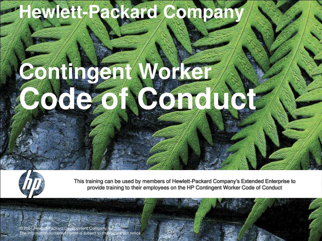 hewlett packard company contingent worker code of conduct l.