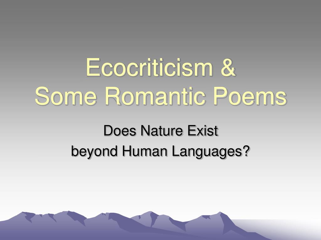 ecocriticism some romantic poems l.