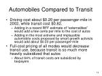 automobiles compared to transit