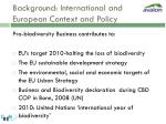 background international and european context and policy