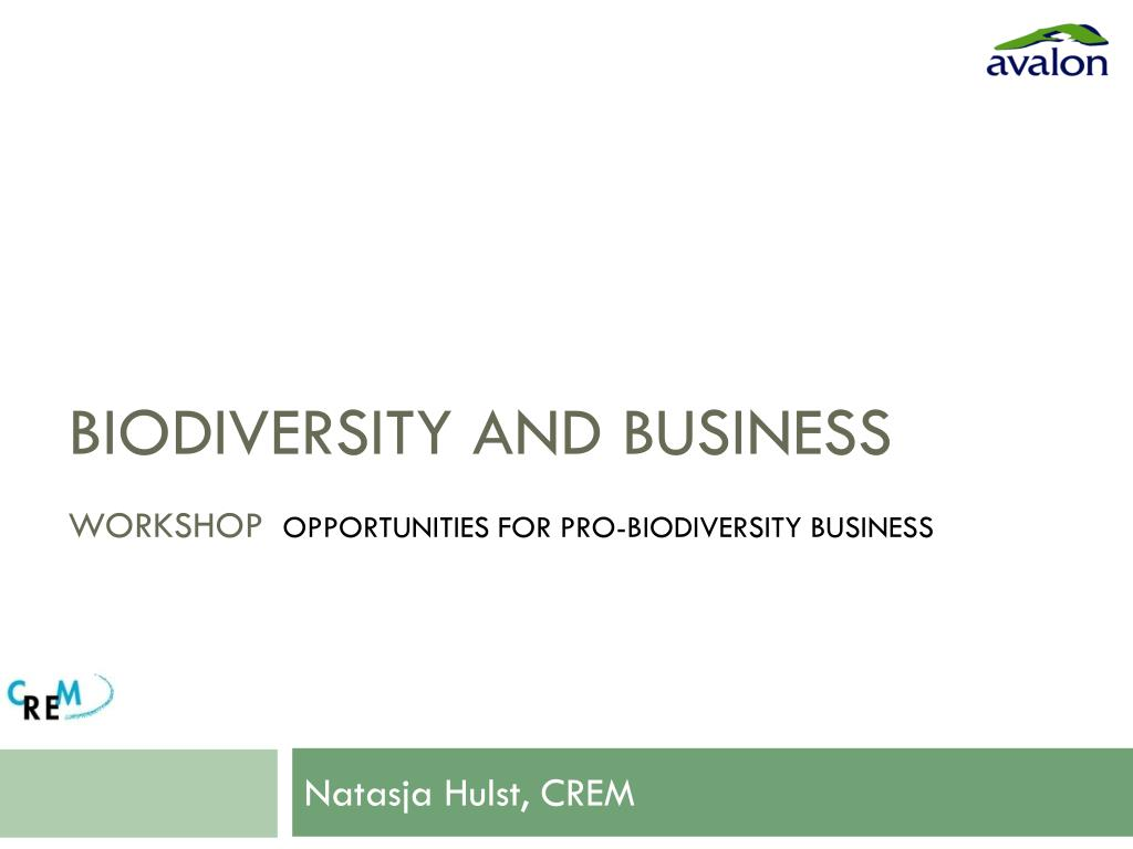 biodiversity and business workshop opportunities for pro biodiversity business l.
