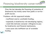 financing biodiversity conservation
