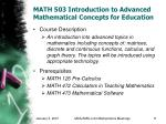math 503 introduction to advanced mathematical concepts for education