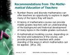 recommendations from the mathe matical education of teachers21