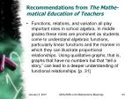 recommendations from the mathe matical education of teachers23