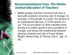 recommendations from the mathe matical education of teachers24