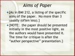 aims of paper