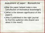 assessment of paper biomedicine