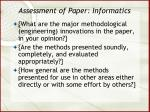 assessment of paper informatics