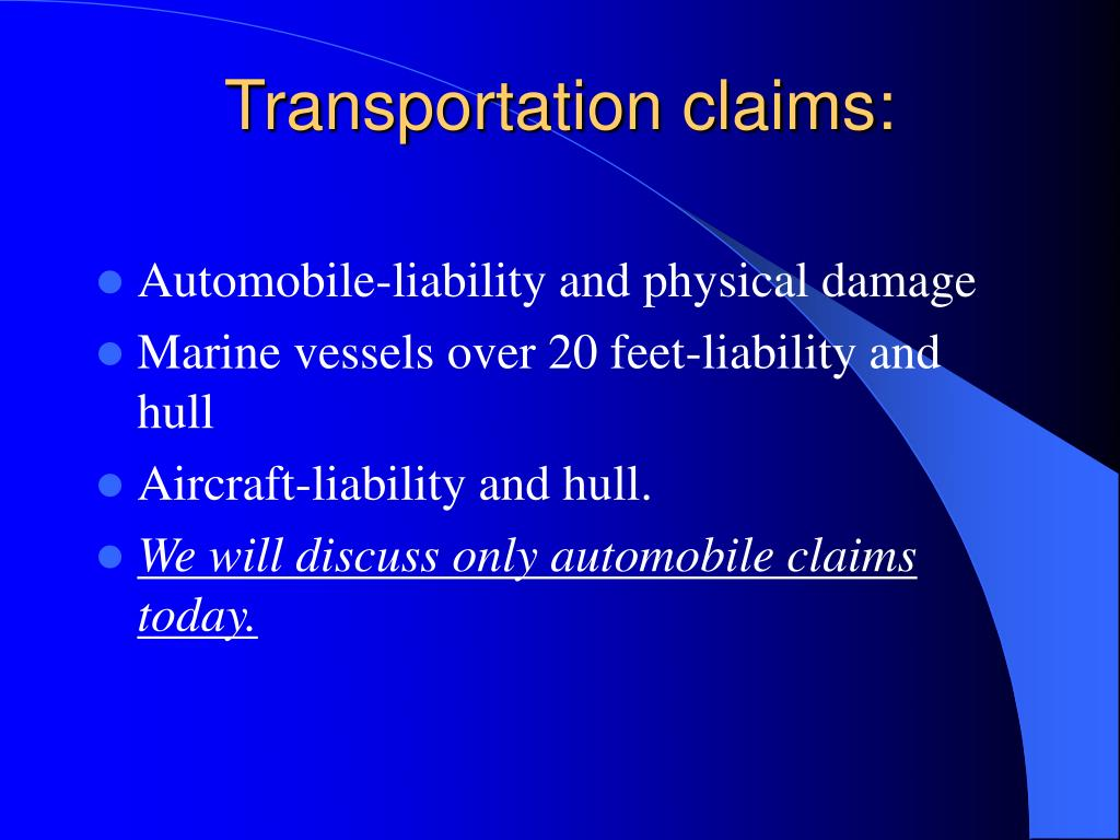 Transportation claims: