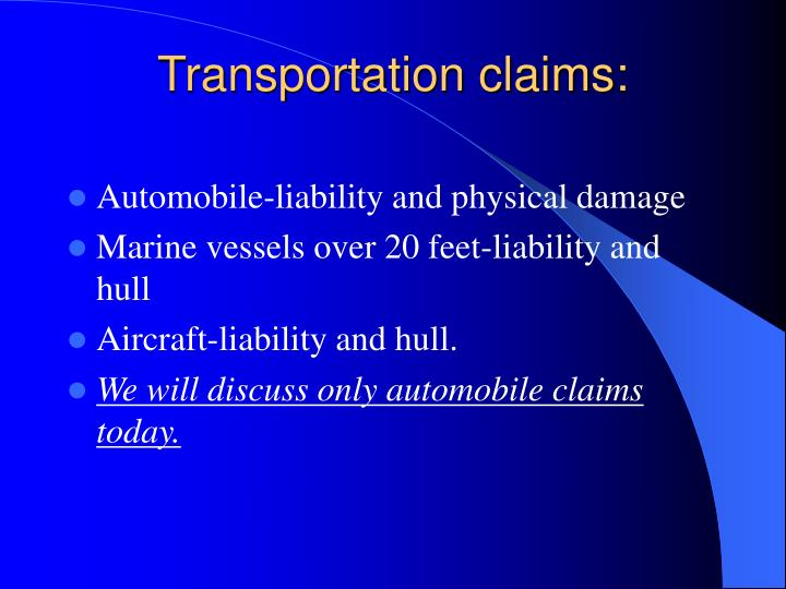 Transportation claims