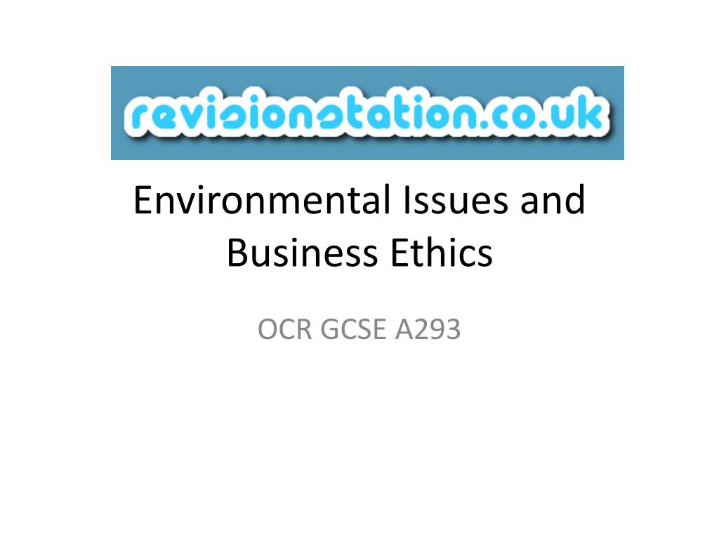 environmental issues and business ethics l.