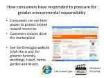 how consumers have responded to pressure for greater environmental responsibility
