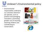 unilever s environmental policy