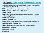 group iii agro based and food industry