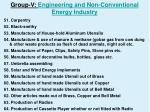 group v engineering and non conventional energy industry