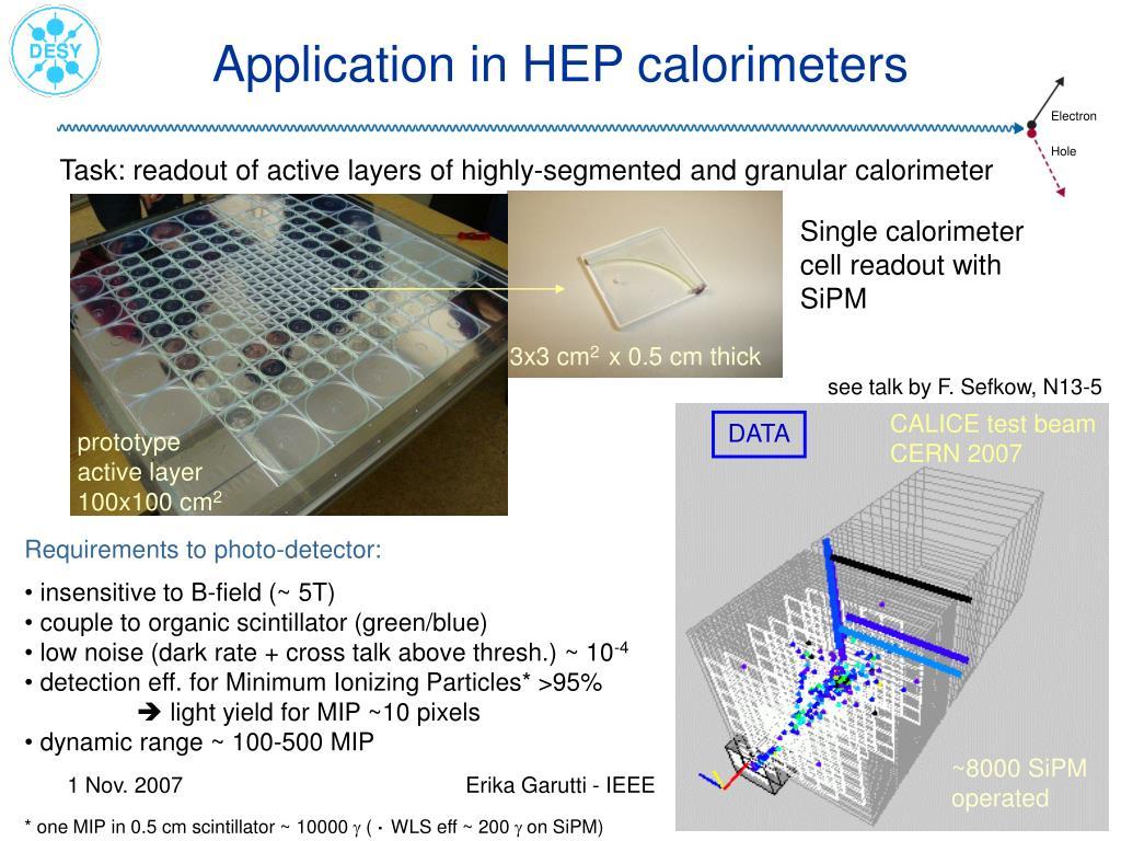 Application in HEP calorimeters