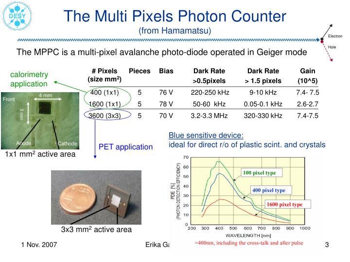 The multi pixels photon counter from hamamatsu