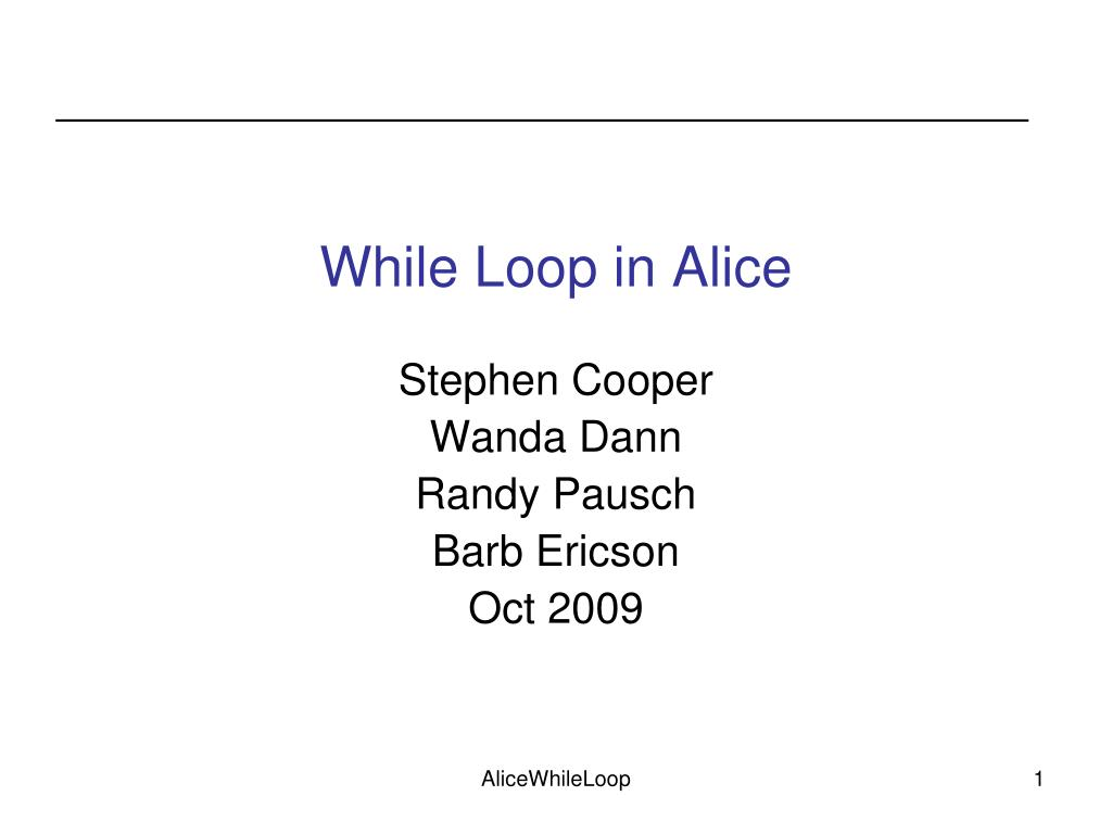 while loop in alice l.