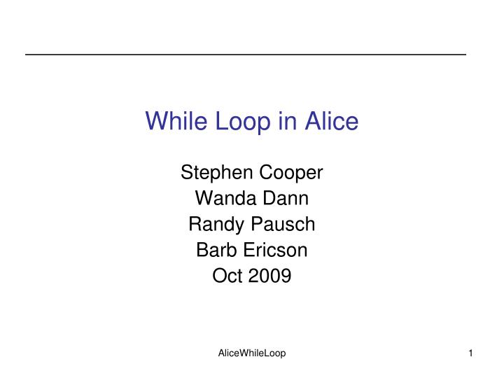 while loop in alice n.