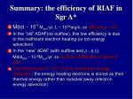 summary the efficiency of riaf in sgr a