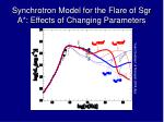 synchrotron model for the flare of sgr a effects of changing parameters