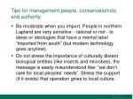 tips for management people conservationists and authority