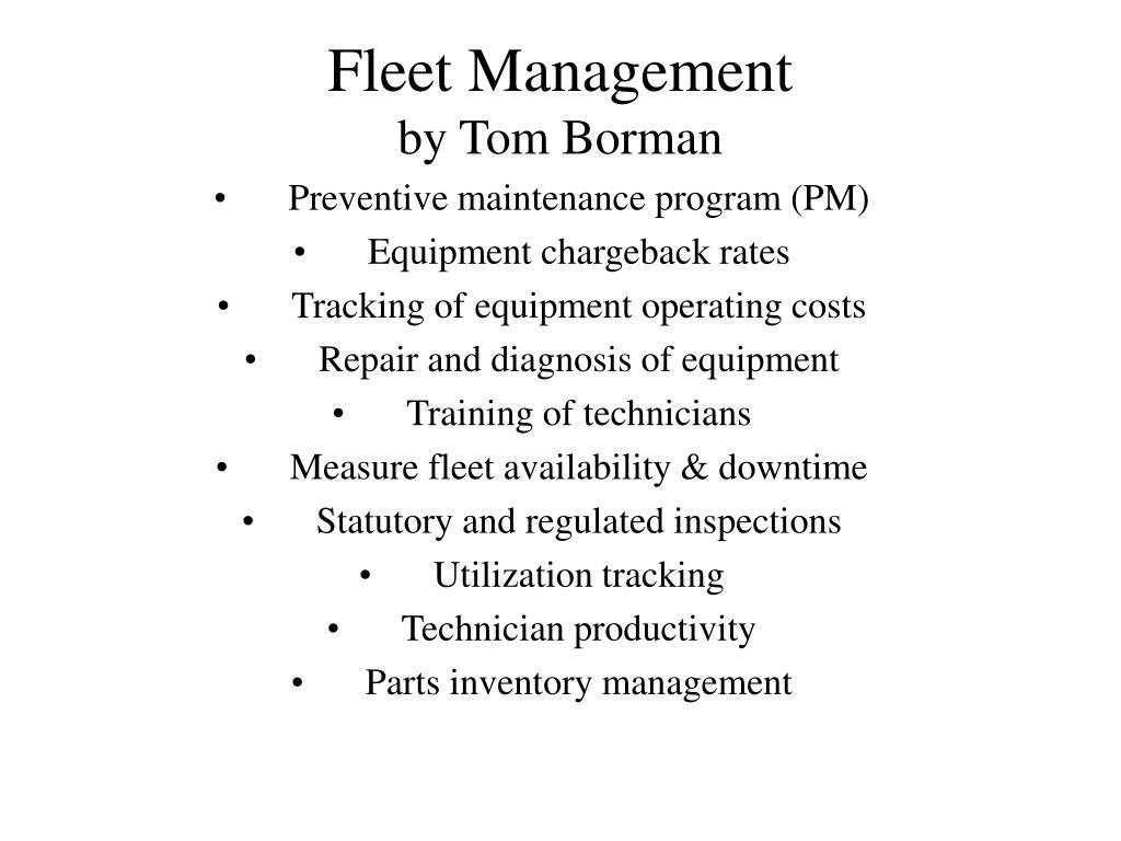 fleet management by tom borman l.