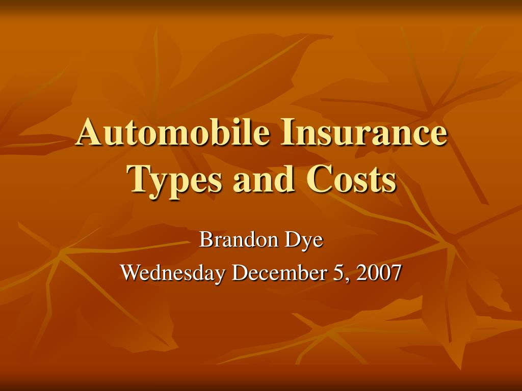 automobile insurance types and costs l.