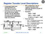 register transfer level descriptions