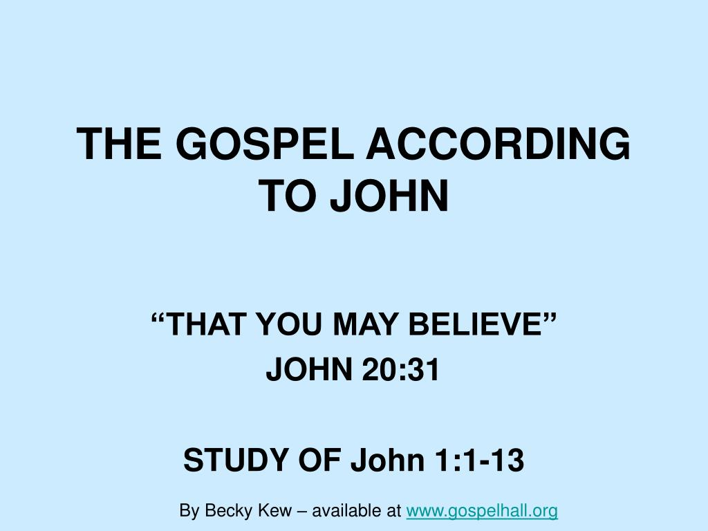 the gospel according to john l.