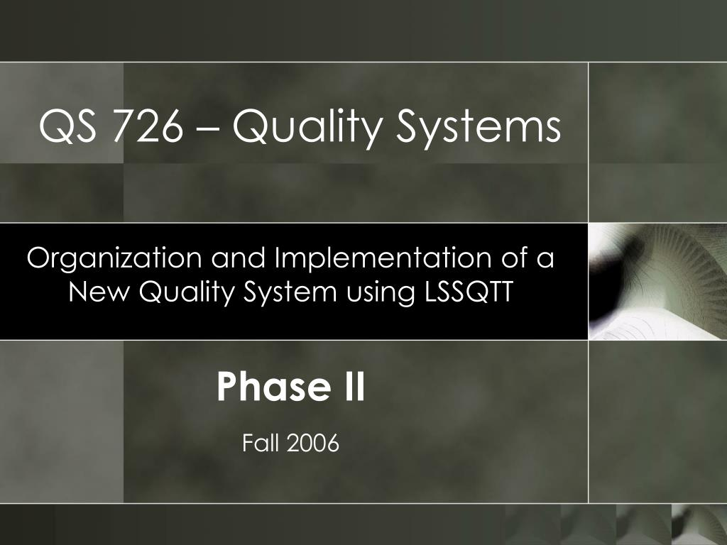 qs 726 quality systems l.