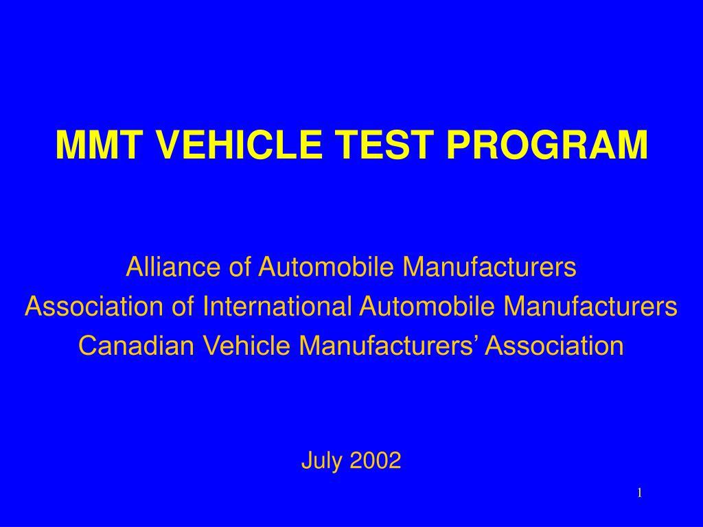 mmt vehicle test program l.